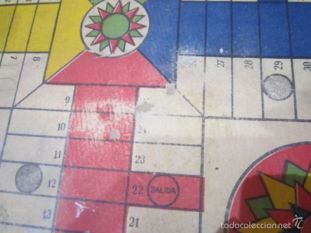 Juegos de mesa: Antiguo tablero Oca y Parchís de cartón con bordes de madera. 35 x 35 cms. - Foto 6 - 57101115