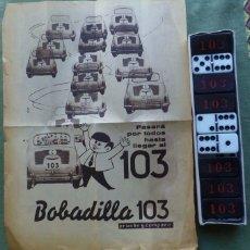 Juegos de mesa: JUEGO - DOMINO PUBLICIDAD BOBADILLA 103 - LICORES - VINOS. Lote 57310568