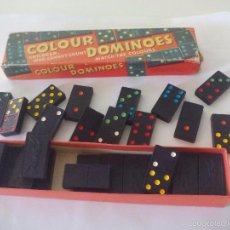 Juegos de mesa: JUEGO DEL DOMINÓ. VINTAGE COLOUR DOMINOES BY SPEARS GAMES - COMPLETO. AÑOS 50. Lote 57649040