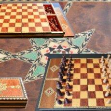 Juegos de mesa: AJEDREZ EN MADERA MARQUETERÍA TARACEA GRANADA COMPLETO HECHO A MANO. Lote 57740589