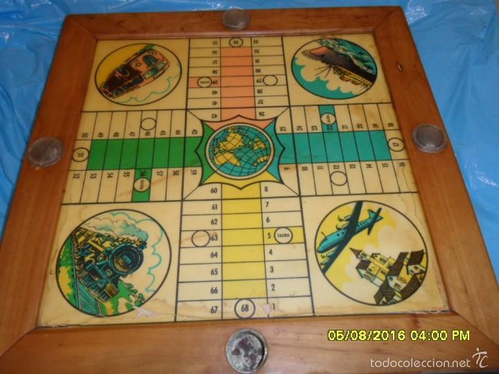 Juegos de mesa: MUY ANTIGUO JUEGO DE PARCHIS Y DE LA OCA DE MADERA TREN AVION BARCO AUTOBUS - Foto 8 - 58435897