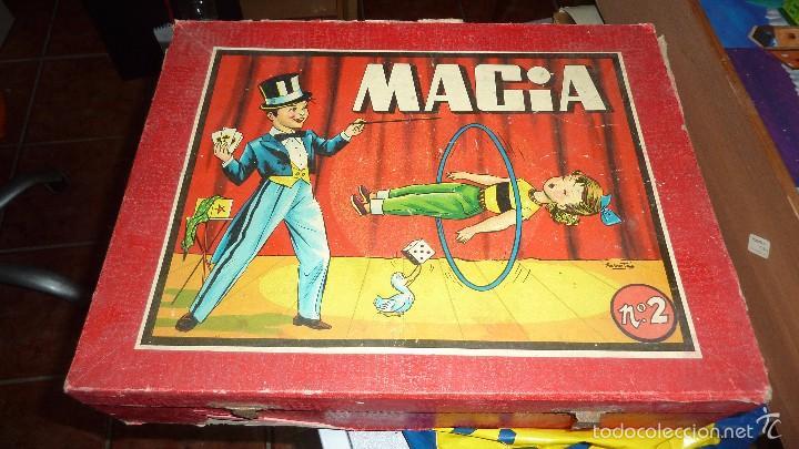 ANTIGUA CAJA DE MADERA MAGIA BORRAS Nº 2 BONITA LITOGRAFIA SABATES 40 / 31 / 9 CM - SOLO CAJA - (Juguetes - Juegos - Juegos de Mesa)