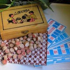 Juegos de mesa: ANTIGUO JUEGO DE LOTERIA O LOTO EN CAJA DE MADERA PINTADA A MANO CIERRE DE METAL AÑOS 50-60 VINTAGE. Lote 59913691