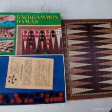 Juegos de mesa: ANTIGUO JUEGO DE MESA BACKGAMMON Y DAMAS EDUCA COMPLETO. Lote 61007975