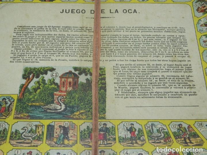Juegos de mesa: Juego de la oca (probablemente catalán y de principios del siglo XX), Mide 36 x 26,5 cm. Tal y como - Foto 5 - 63615271