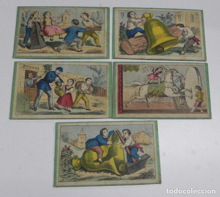 5 CARTONES DEL JUEGO DE LA ADUANA, MUY ANTIGUOS, MIDEN 17,5 X 10,5 CMS. (Juguetes - Juegos - Juegos de Mesa)