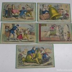 Juegos de mesa: 5 CARTONES DEL JUEGO DE LA ADUANA, MUY ANTIGUOS, MIDEN 17,5 X 10,5 CMS.. Lote 63635715