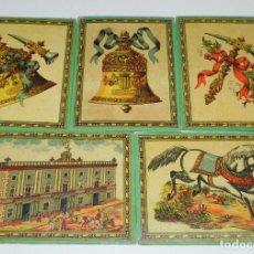 Juegos de mesa: 5 CARTONES DEL JUEGO DE LA ADUANA, MUY ANTIGUOS, MIDEN 17,5 X 13 CMS.. Lote 63635875