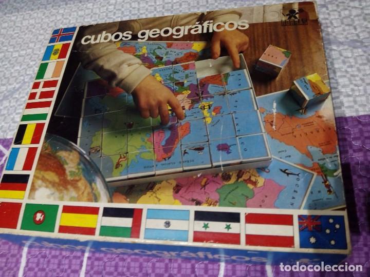 ANTIGUO JUEGO CUBOS GEOGRAFICOS BORRAS (COMPLETO CON LÁMINAS) (Juguetes - Juegos - Juegos de Mesa)