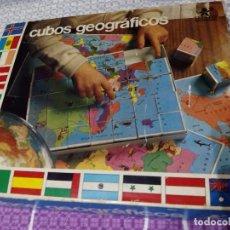 Juegos de mesa: ANTIGUO JUEGO CUBOS GEOGRAFICOS BORRAS (COMPLETO CON LÁMINAS). Lote 64676107