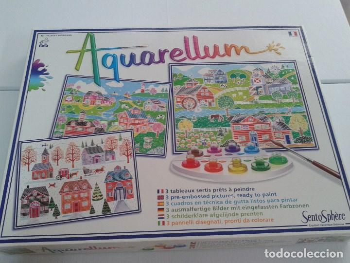 Juego De Acuarela Aquarellum Tres Cuadros Listos Para Pintar