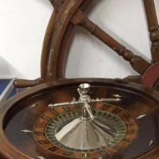 Juegos de mesa: RULETA DE CASINO EN MADERA NOBLE Y BRONCE , TODA ORIGINAL ,. Lote 68722201