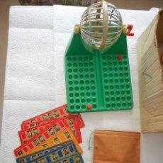 Juegos de mesa: JUEGO BINGO LOTERÍA MODELO M - 90. CON CAJA, CARTONES Y BOLSA PARA BOLAS. FALTAN DOS BOLAS. Lote 69714245