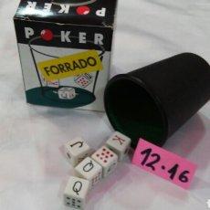 Juegos de mesa: CUBILETE Y DADOS POKER (8 CM) FORRADO.CAYRO 80S.NUEVO EN CAJA.. Lote 205884426