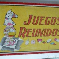 Juegos de mesa: JUEGOS REUNIDOS ANTIGUO.AÑOS 50 MATERIALES DE MADERA,CARTON Y PLASTICO. CAJA DE DOS PISOS. Lote 75063855