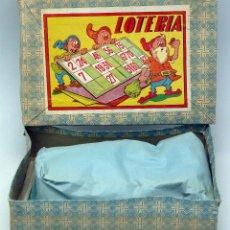 Juegos de mesa: LOTERIA INFANTIL BINGO ENANITOS CON CAJA FICHAS MADERA CARTONES Y CONTADOR AÑOS 50 COMPLETA. Lote 75993651