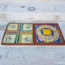 Juegos de mesa: JUEGO DE LA OCA O PARCHIS EN CAJA O ESTUCHE DE MADERA MUY ANTIGUO,AÑOS 40 APROX. Lote 79690881
