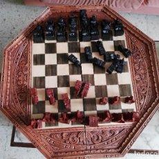 Juegos de mesa: AJEDREZ BACKGAMMON EN MARQUETERIA TALLADO EN MADERA . Lote 86586544