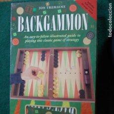 Juegos de mesa: BACKGAMMON JUEGO CON LIBRO EN INGLÉS DE COMO SE JUEGA. Lote 90335652