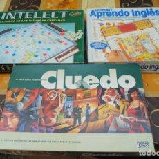 Juegos de mesa: LOTE DE TRES JUEGOS DE MESA, CLUEDO, APRENDO INGLÉS E INTELECT.. Lote 92740130