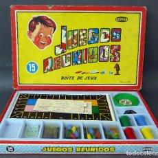 Juegos de mesa: JUEGOS REUNIDOS 15 CAJA CON TABLEROS FICHAS RULETA AÑOS 70 CASI COMPLETO. Lote 98222083