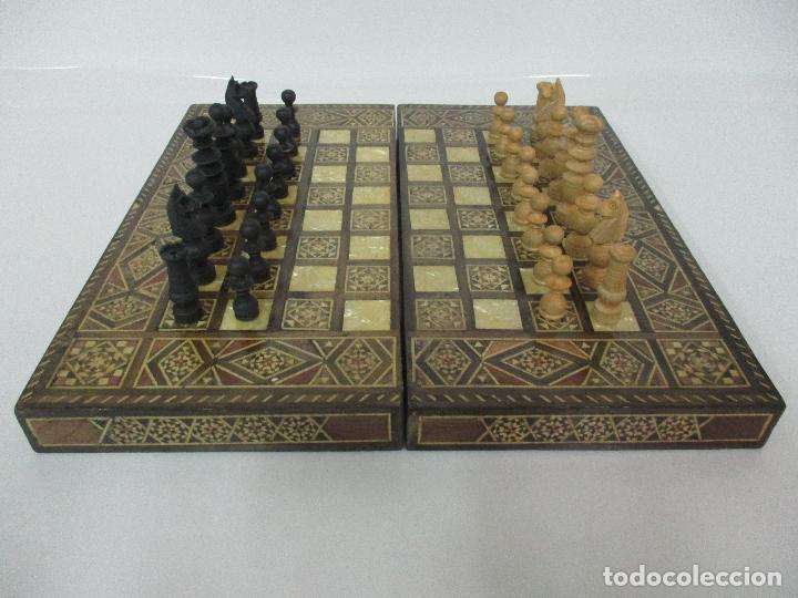 Increible Tablero Antiguo Ajedrez Backgammo Comprar Juegos De