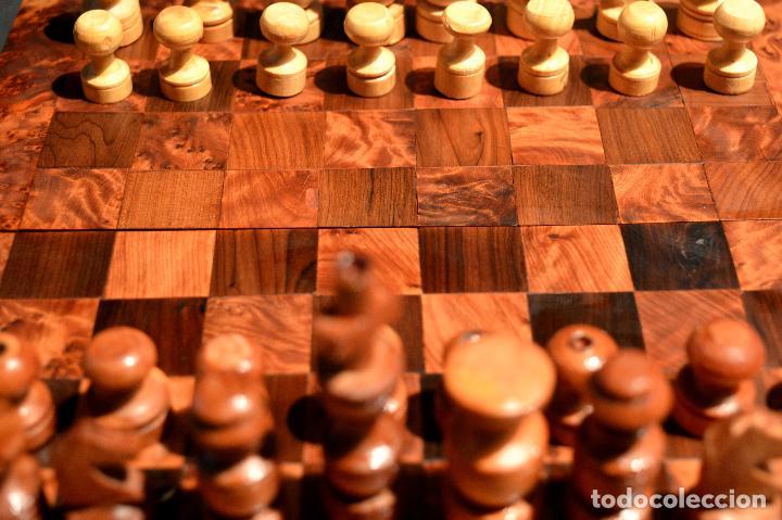 Juegos de mesa: AJEDREZ Y BACKGAMMON EN MARQUETERÍA DE MADERA Y MALETÍN HECHO A MANO - Foto 5 - 103735755