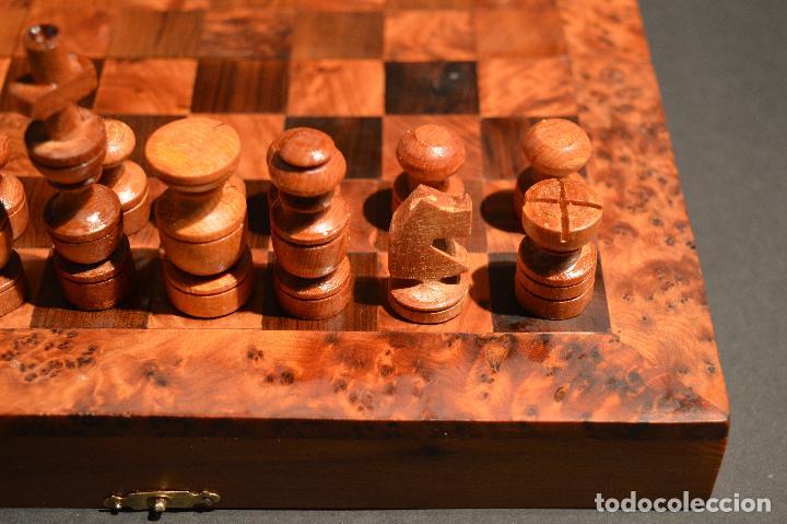 Juegos de mesa: AJEDREZ Y BACKGAMMON EN MARQUETERÍA DE MADERA Y MALETÍN HECHO A MANO - Foto 7 - 103735755