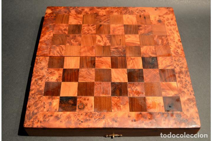 Juegos de mesa: AJEDREZ Y BACKGAMMON EN MARQUETERÍA DE MADERA Y MALETÍN HECHO A MANO - Foto 8 - 103735755