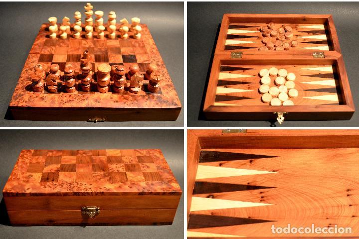 Juegos de mesa: AJEDREZ Y BACKGAMMON EN MARQUETERÍA DE MADERA Y MALETÍN HECHO A MANO - Foto 21 - 103735755