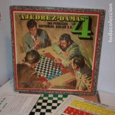 Juegos de mesa: AJEDREZ Y DAMAS EDITORIAL DOLAR, AÑOS 60-70. CAJA RÍGIDA 32 X 32 CMS.,MANUFACTURAS ANRO.SIN USAR. Lote 104212803