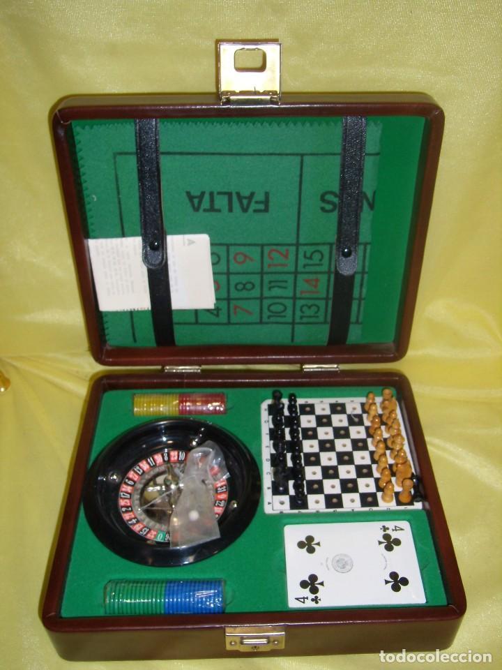 Juego Ruleta Poker Estuche Piel Con Ajedrez Anos 70 Nuevo Sin Usar Con Sus Precintos Originales