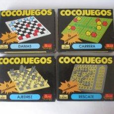 Juegos de mesa: CUATRO COCOJUEGOS AJEDREZ DAMAS RESCATE Y CARRERAS DE EVALAND ALICANTE AÑOS 80- A ESTRENAR. Lote 86469666