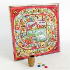 Juegos de mesa: ANTIGUO JUEGO DE LA OCA-PARCHIS CUBILETE Y FICHAS. AÑOS 40. Lote 107727979
