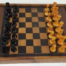 Juegos de mesa: DOBLE TABLERO. AJEDREZ Y BACKGAMMON. MADERA Y MARQUETERIA. CIRCA 1940. . Lote 111227575