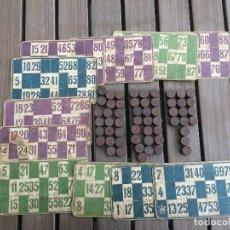 Juegos de mesa: ANTIGUAS FICHAS DE BINGO Y CARTONES. Lote 111900799