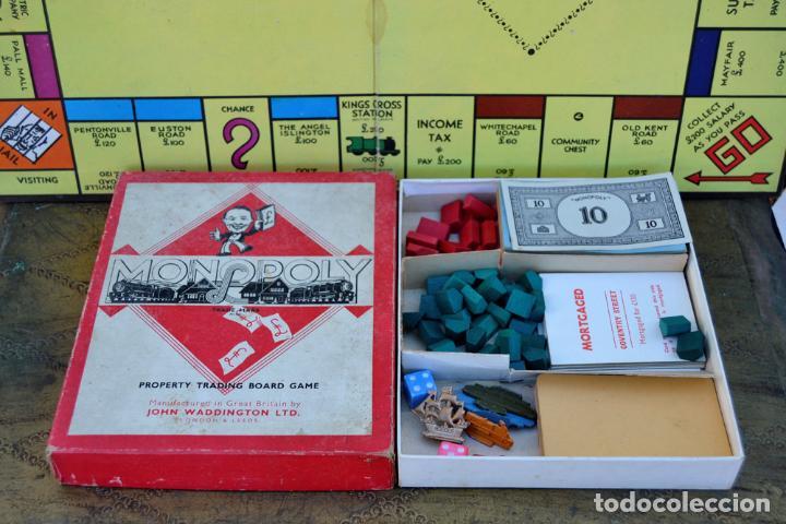 Juegos de mesa: ANTIGUO MONOPOLY INGLES JOHN WADDINGTON AÑOS 40 * (1947) FIGURAS DE METAL CASAS DE MADERA COMPLETO - Foto 4 - 112601523