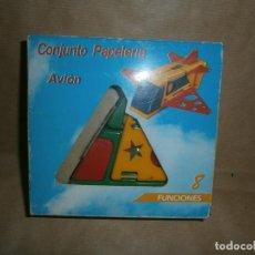 Juegos de mesa: AVION CONJUNTO PAPELERIA 8 FUNCIONES AÑOS-80 NUEVO. Lote 113029019