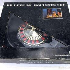Juegos de mesa: RULETA 16 PULGADAS CON FICHAS DE CASINO TAPETE REVERSIBLE CON BLACK JACK Y SABOT DELUXE ROULETTE SET. Lote 113158931