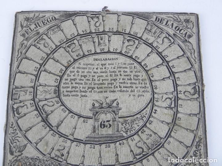 Juegos de mesa: ANTIGUO TABLERO DE EL JUEGO DE LA OCA EN TELA ESTAMPADA, SIGLO XIX, CLAVETEADA SOBRE TABLON DE MADER - Foto 4 - 115563439