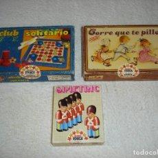 Juegos de mesa: JUEGOS EDUCA: CORRE CORRE QUE TE PILLO - CLUB SOLITARIO - SIMETRIC - COMPLETOS SIN USO.. Lote 117321467