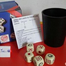 Juegos de mesa: CUBILETE SIN FORRAR (8 CM) Y DADOS POKER MARIGÓ 90S.NUEVO EN CAJA.. Lote 205884500