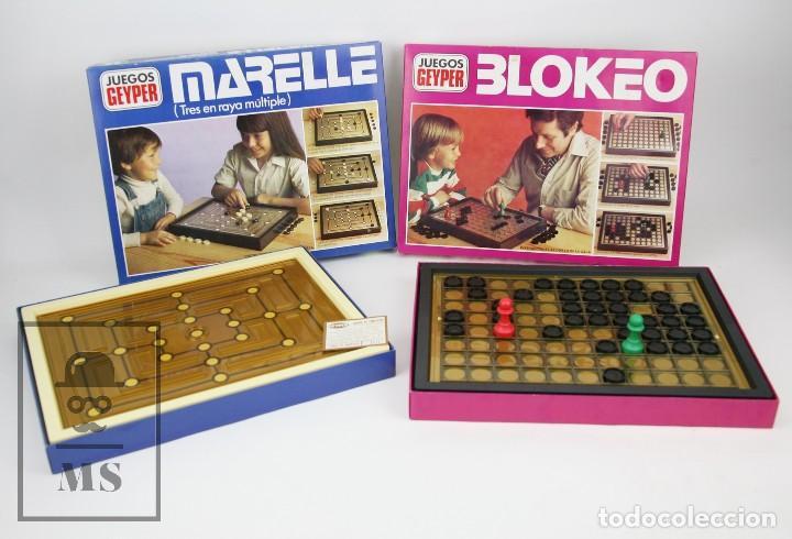 PAREJA DE JUEGOS DE MESA - BLOKEO / MARELLE - GEYPER, AÑOS 70 (Juguetes - Juegos - Juegos de Mesa)