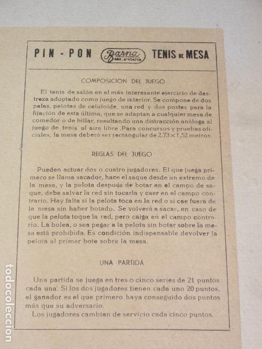 Juegos de mesa: JUEGO DE PIN-PON - PING-PONG - MARCA BARNA - Foto 3 - 126558519