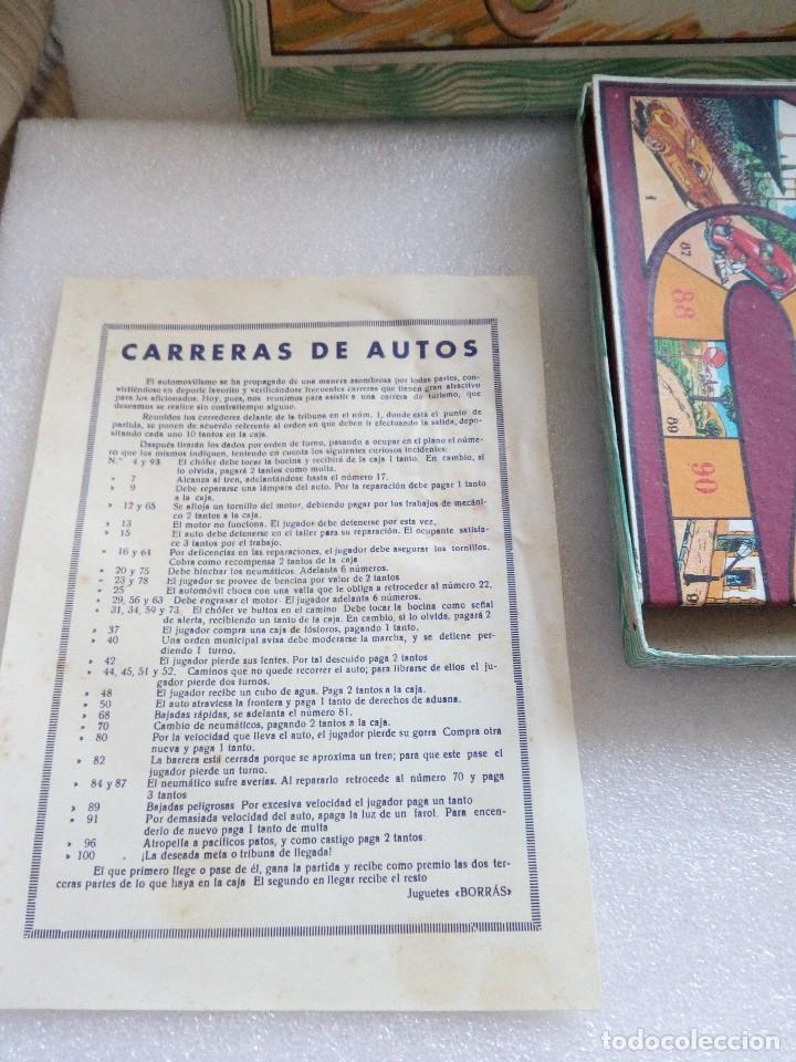 Juegos de mesa: Raro juego carreras de autos borras, años 20-30 creo, tablero,6 fichas,2 dados e instrucciones - Foto 2 - 128249907