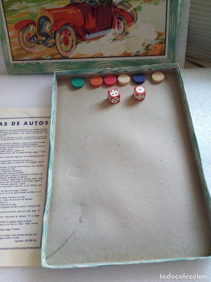 Juegos de mesa: Raro juego carreras de autos borras, años 20-30 creo, tablero,6 fichas,2 dados e instrucciones - Foto 4 - 128249907
