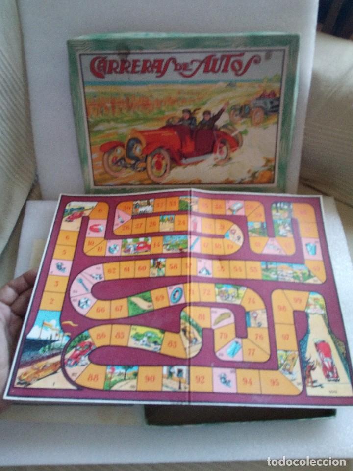 Juegos de mesa: Raro juego carreras de autos borras, años 20-30 creo, tablero,6 fichas,2 dados e instrucciones - Foto 5 - 128249907