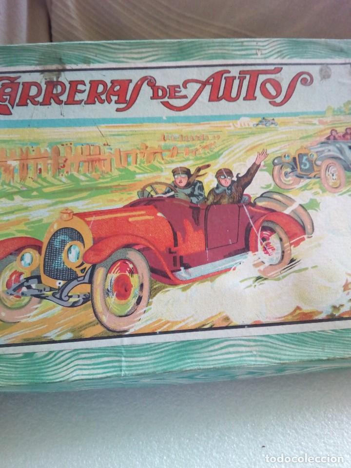 Juegos de mesa: Raro juego carreras de autos borras, años 20-30 creo, tablero,6 fichas,2 dados e instrucciones - Foto 12 - 128249907