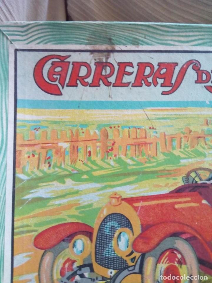 Juegos de mesa: Raro juego carreras de autos borras, años 20-30 creo, tablero,6 fichas,2 dados e instrucciones - Foto 13 - 128249907