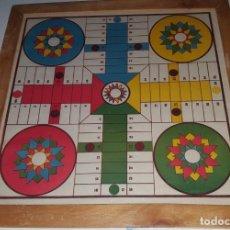 Juegos de mesa: TABLERO PARCHIS AÑOS 60 CON MARCO MADERA Y CRISTAL. Lote 131175276
